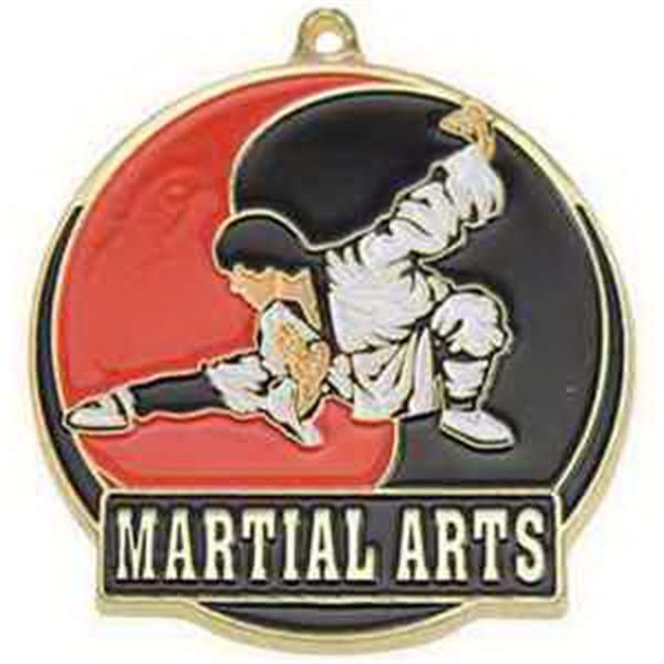 "2"" High Tech Medallion MARTIAL ARTS in Gold"
