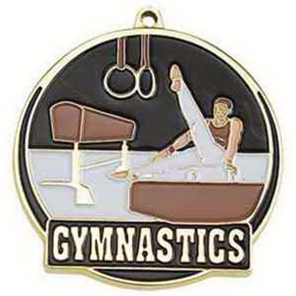 "2"" High Tech Medallion GYMNASTICS in Gold (Male)"