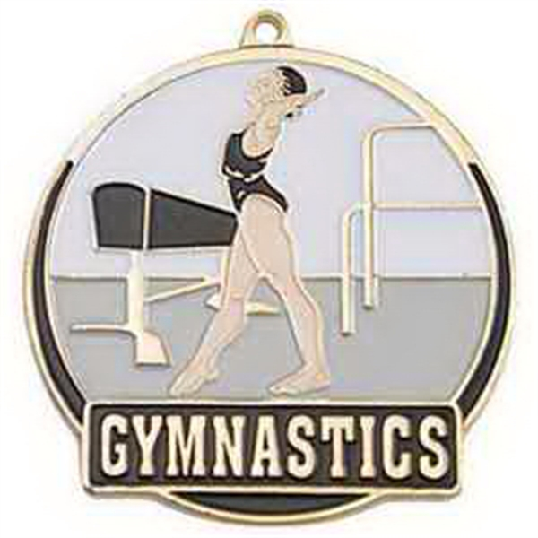 "2"" High Tech Medallion GYMNASTICS in Gold (Female)"