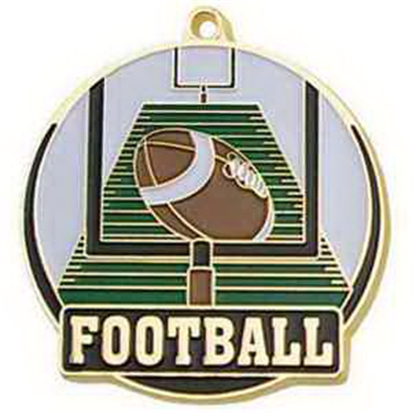 "2"" High Tech Medallion FOOTBALL in Gold"