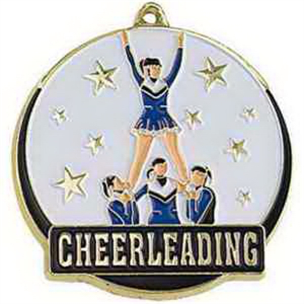"2"" High Tech Medallion CHEERLEADER in Gold"