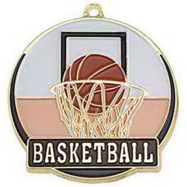 "2"" High Tech Medallion BASKETBALL in Gold"