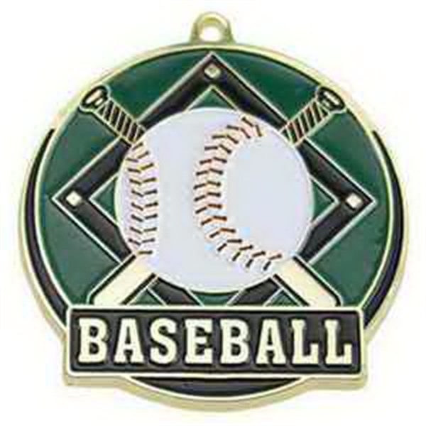 "2"" High Tech Medallion BASEBALL in Gold"