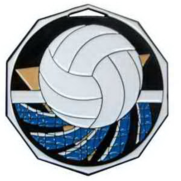 "2"" Decagon Color Medal VOLLEYBALL"