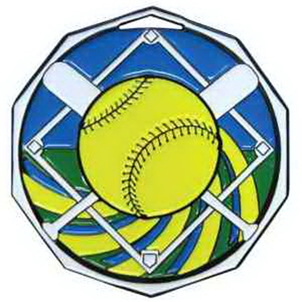 "2"" Decagon Color Medal SOFTBALL"