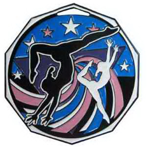 "2"" Decagon Colored Medal GYMNASTICS (Female)"