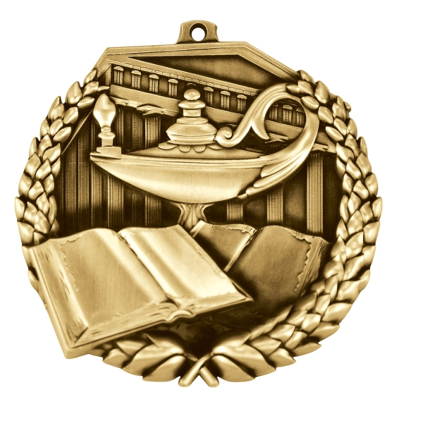 2 1/2'' BOOK AND LAMP MEDAL (G