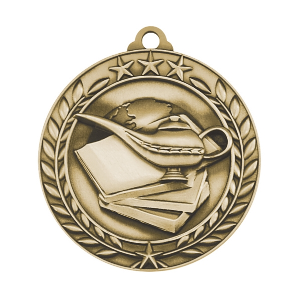 1 3/4'' BOOK AND LAMP MEDAL (G)