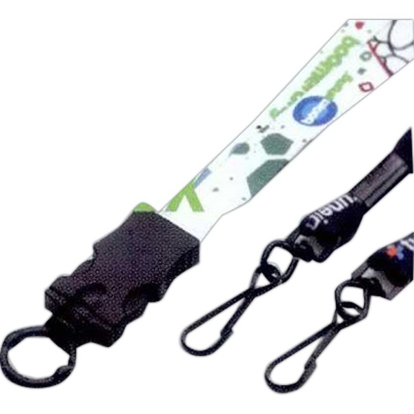 "1/2"" Lanyard w/ Plastic Snap-Buckle Release & O-Ring"