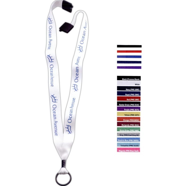 """3/4"""" Polyester Convenience Release Lanyard - Polyester convenience release lanyard with metal crimp and split ring, 3/4""""."""