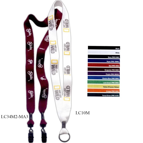 "1"" Cotton Lanyard w/ Metal Crimp & Metal Split-Ring"