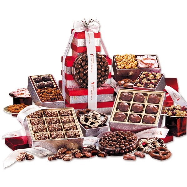 Red and Silver Giant Gourmet Gift Tower