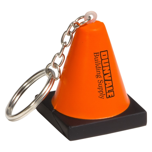 Construction Cone Key Chain Stress Reliever