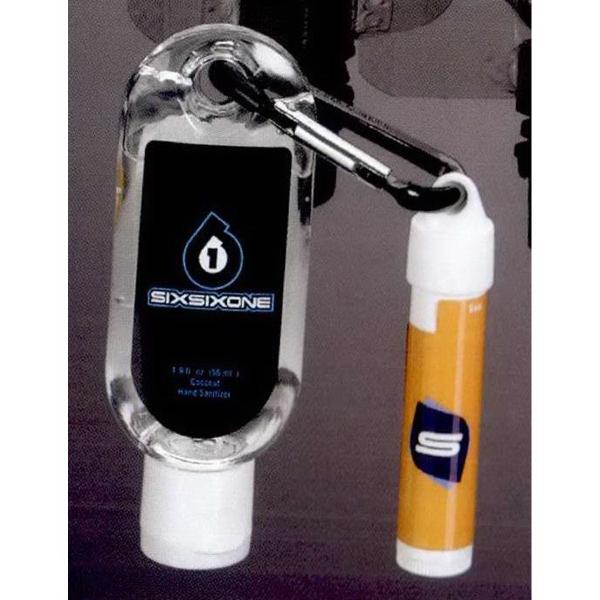 1.9 oz. Clear Gel Sanitizer with Carabiner & SPF 15 Lip Balm - 1.9 oz. Clear Gel Sanitizer with SPF 15 Lip Balm.