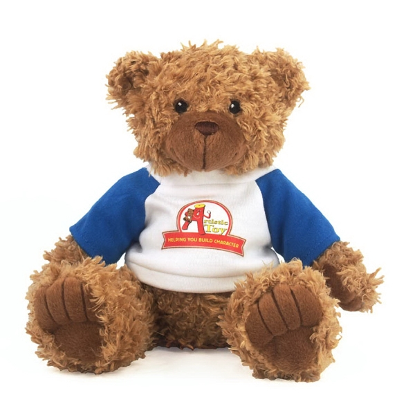 """8"""" Brown Curly Bear with T-shirt and Full Color Imprint"""
