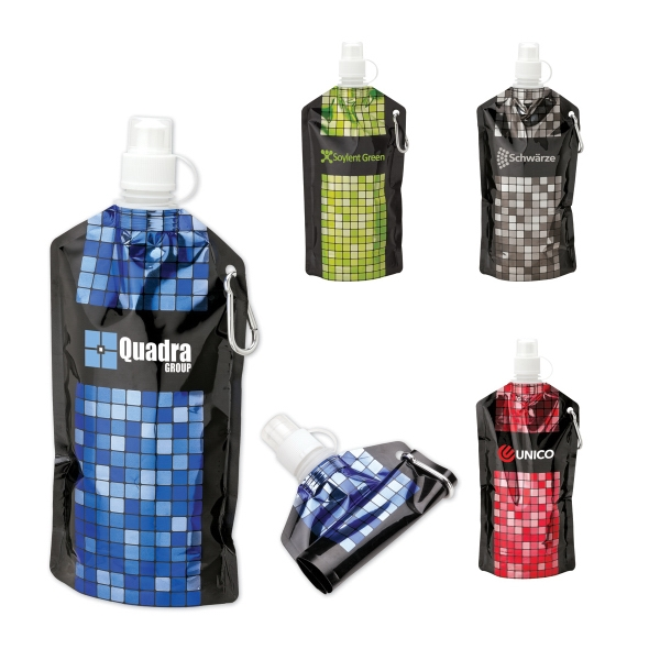 25 oz. PE Water Bottle - Patterned roll-up water bottle with carabiner, BPA-Free.