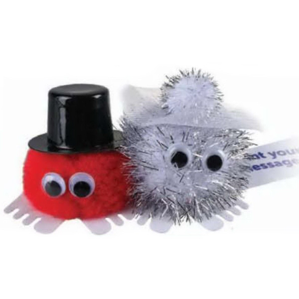 Bride & Groom - Glitter Hat & Hand Weepul