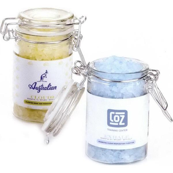 Essential Oil Infused Bath Salts in Wire Bale Jar