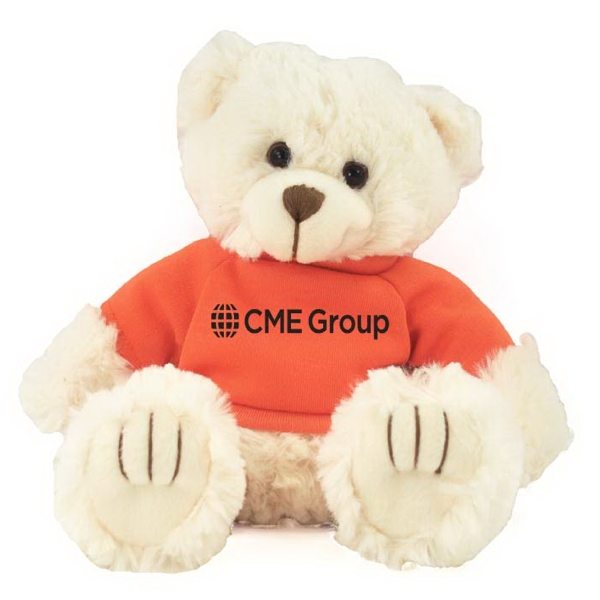 """9"""" Cream Peter Bear with T-shirt and one color imprint"""