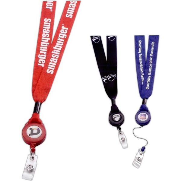 "3/4"" Polyester Lanyard with Retractable Badge Reel - Polyester lanyard with retractable badge reel."