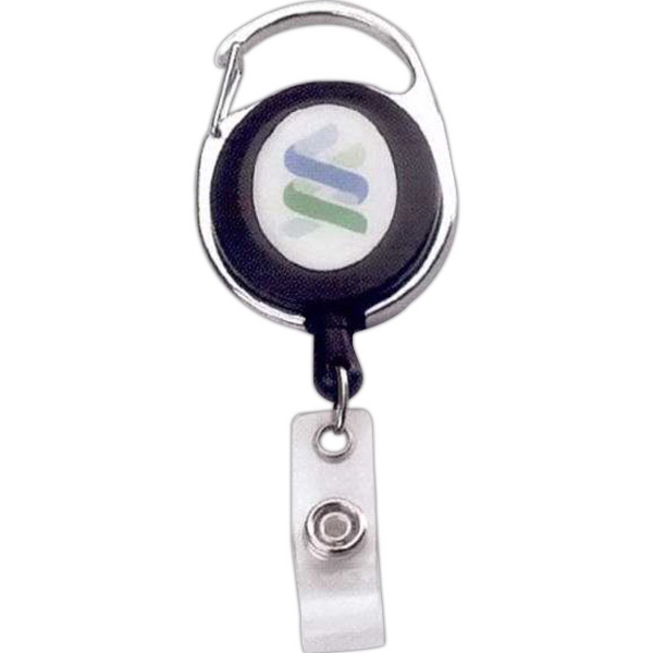 Oval Metal/Plastic Carabiner Retractable Badge Reel