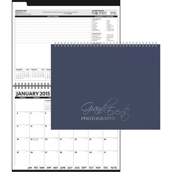 """2017 President (TM) - Hard Cover Monthly Planner - 11"""" x 8"""" The President Horizontal Monthly Calendar with 15 blank memo sheets in back."""