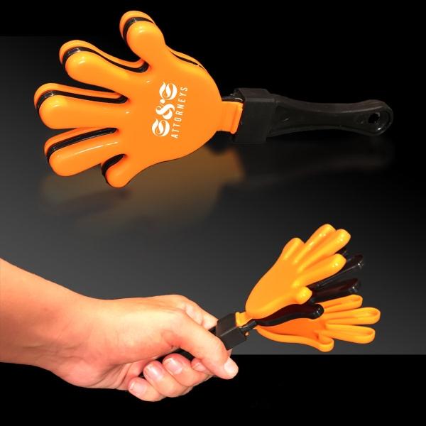 "Orange Black & Orange Hand Clapper - Orange Black & Orange 7"" high quality hand clapper"