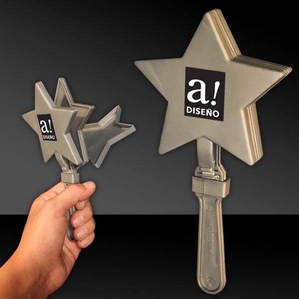 "Silver 7"" Star Hand Clapper"