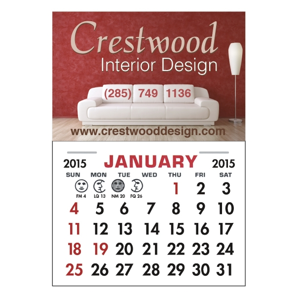 Calendar Pad Magnet - Repositionable adhesive 12 month tear-off calendar magnet