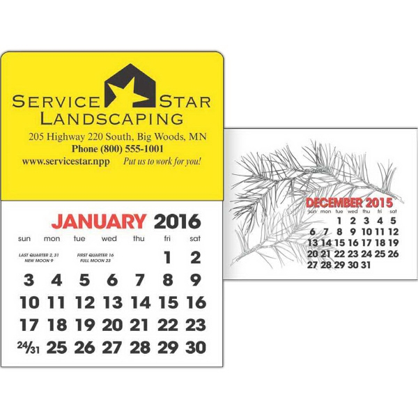 2-Color Stick Up Grid, English (13-Month) - 2-color stick up 2016 calendar, English (13-Month).
