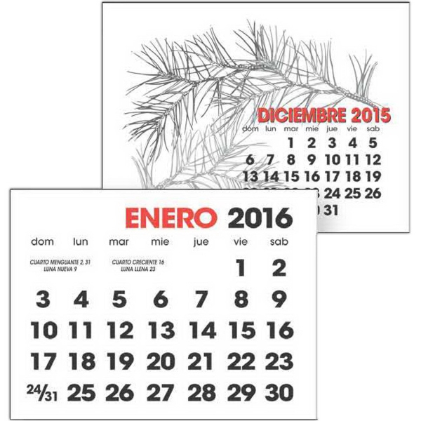 2-Color Stick Up Grid - 13-Month (Spanish) - Spanish 2-color stick up 2016 calendar (13-Month).
