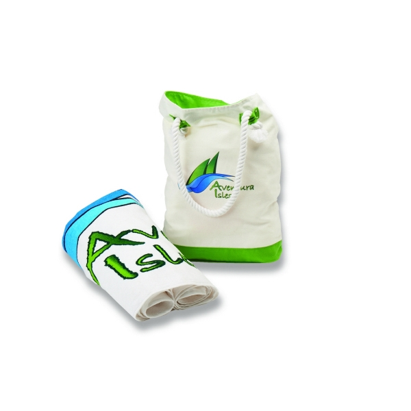 Castaway Tote (TM) and Towel - Combination set with tote and white beach towel.
