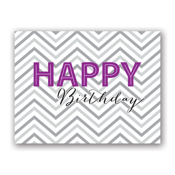 Chevron Wish Birthday Card - Gray