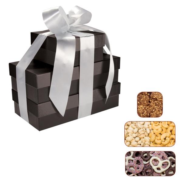 The Four Seasons Gift Box Tower - Pretzels, Pistachios, Nuts