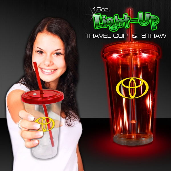 Red Light Travel Cup with Lid and Straw