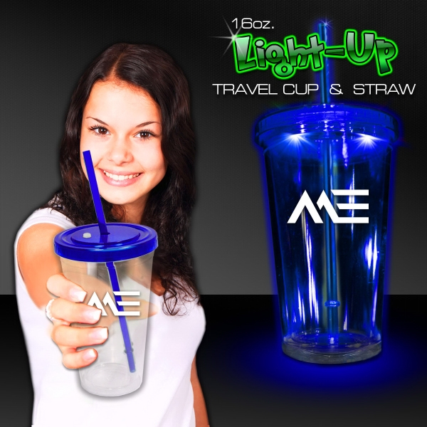 Blue Light Up Travel Cup with Lid and Straw