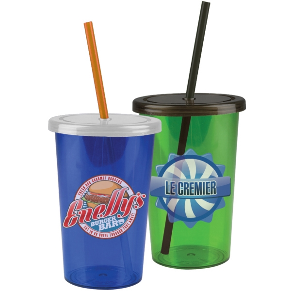 The Patriot - 20 oz Travel Straw Tumbler - 20 oz Acrylic Insulated Straw Tumbler