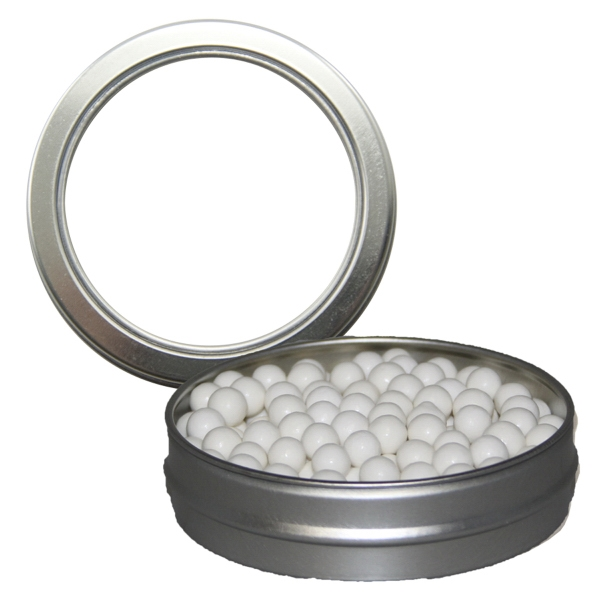Silver Short Round Mint Tin with Signature Peppermints