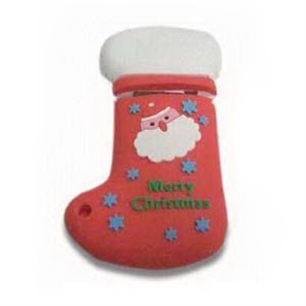 Custom PVC Christmas Socks Shaped USB Flash Drive