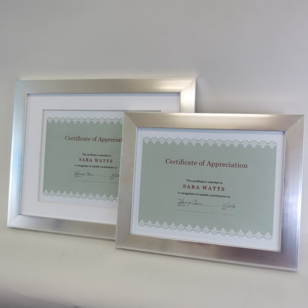 Silver Polymer Document Frame - Multi Size BNoticed | Put a Logo on ...
