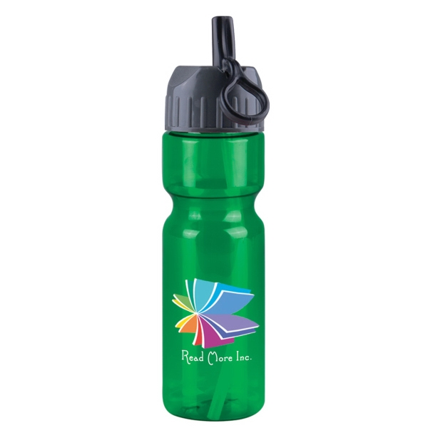Champion - 28 oz. Transparent Bottle with Flip Straw Lid, DP - 28 oz Transparent Sports Bottle with flip straw lid.