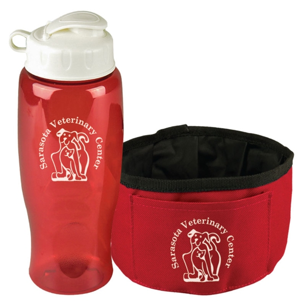 The Thirsty Dog Sports Bottle and Folding Dog Bowl - Sports Bottle and Folding Dog Bowl.