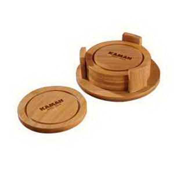 Round Bamboo Coaster Set