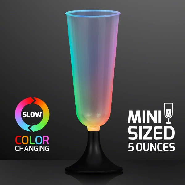 LED Mini Champagne Glass Sippers, Slow Color Change