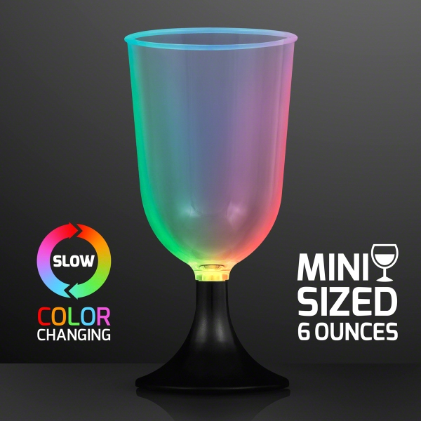 LED Mini Wine Glass Sippers, Slow Color Change