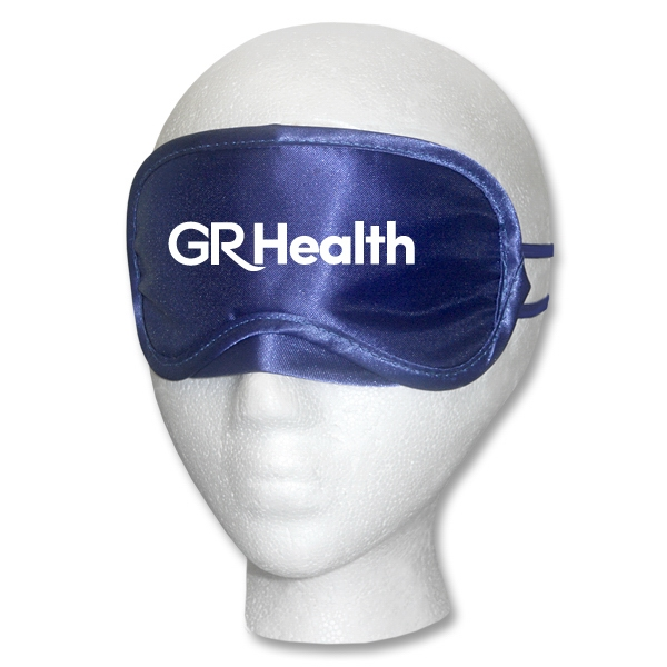 Navy Satin Sleep Mask - Navy blue satin sleep mask with imprint area, and imprint or label options on storage bag.