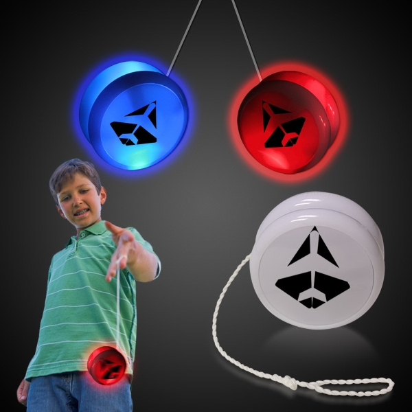 "2 3/8"" White Plastic Light Up Glow LED YoYo"