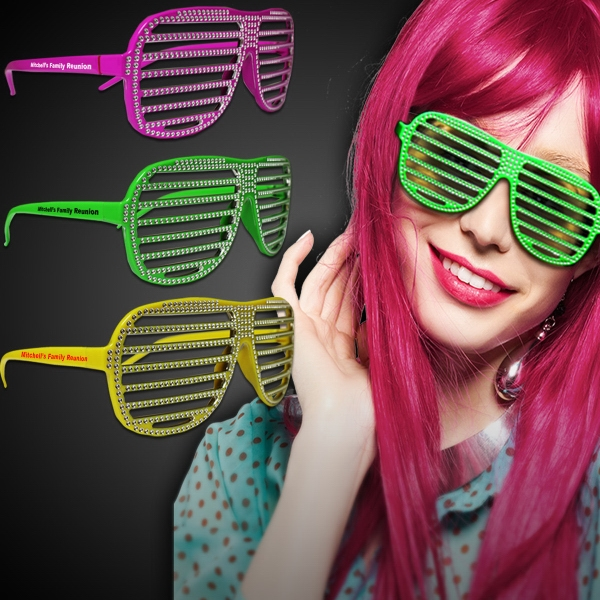 Neon Sparkle Slotted Eyeglasses in Assorted Colors