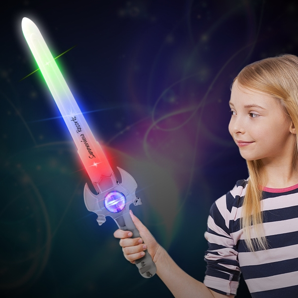 Light Up Spinner Sword - Our 23 inch plastic light up sword features bright LEDs throughout and a silver plastic chrome handle.