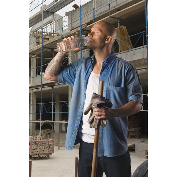 Men's tall short sleeve 100% cotton denim shirt